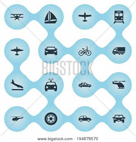 Vector Illustration Set Of Simple Shipment Icons. Elements Motor, Cab, Motor Lorry And Other Synonyms Boat, Airline And Tire.