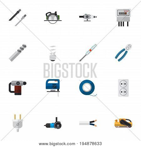 Set Of 16 Editable Instruments Icons. Includes Symbols Such As Fretsaw, Electric, Adhesive And More. Can Be Used For Web, Mobile, UI And Infographic Design.