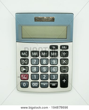 Top view of used calculator isolated on white background