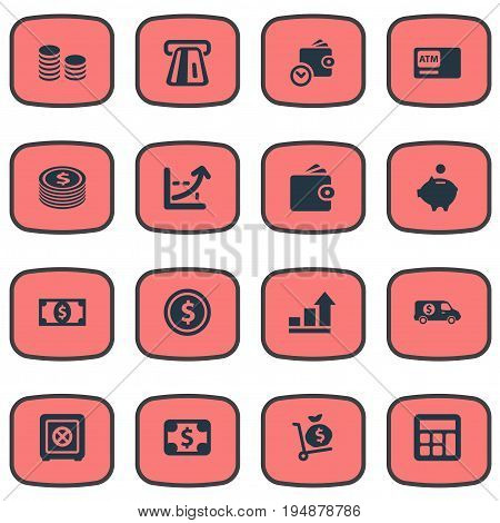 Vector Illustration Set Of Simple Money Icons. Elements Increase Graph, Bank Truck, Moneybox And Other Synonyms Atm, Cashpoint And Personal.