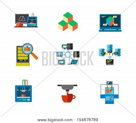 3d-printing and data center icon set. 3d printing concept Three dimensional cube Three dimensional design Bug inspection Network topology Big data technology 3d printer 3d printing process Bioprinter