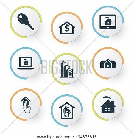 Vector Illustration Set Of Simple Real Icons. Elements Choose, Real Estate Database, Domicile And Other Synonyms Finger, Monitor And Domicile.