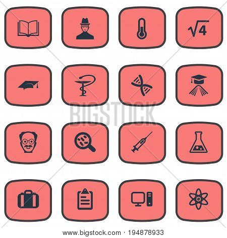Vector Illustration Set Of Simple Knowledge Icons. Elements Knowledge, Thermometer, Bacterium And Other Synonyms Nuclear, Engendering And Handbag.