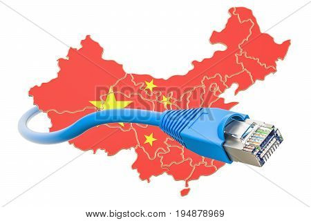Internet service provider in China concept 3D rendering isolated on white background