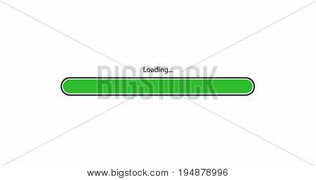 vector modern green loading bar on white background.