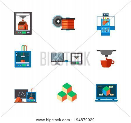 3d-printing icon set. Industrial 3d printer Filament Bioprinter 3d printer.