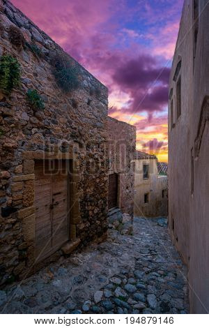 The beautiful Byzantine castle town of Monemvasia in Laconia at Sunrise, Peloponnese - Greece.