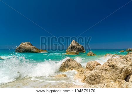 Megali Petra beach on Lefkas island in Greece