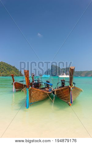 Long tail boat in Phi Phi don island in Thailand