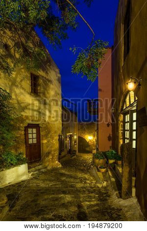 The beautiful Byzantine castle town of Monemvasia in Laconia at night, Peloponnese - Greece.