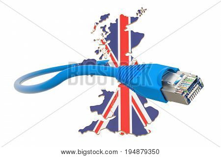 Internet service provider in Great Britain concept 3D rendering isolated on white background