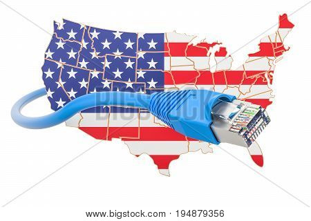 Internet service provider in USA concept 3D rendering isolated on white background