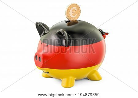Investments in Germany. Piggy bank with flag and golden coin business concept. 3D rendering