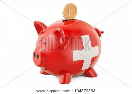 Investments in Switzerland. Piggy bank with flag and golden franc coin business concept. 3D rendering