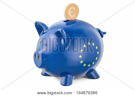 Investments in the European Union. Piggy bank with flag and golden euro coin business concept. 3D rendering