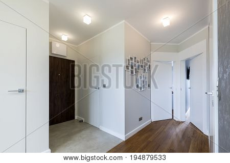 Interior of modern house in scandinavian style view from the corridor