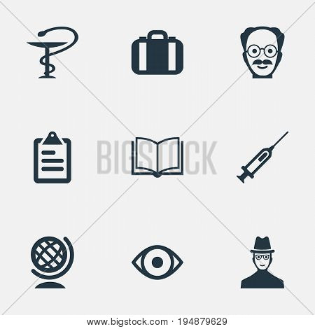 Vector Illustration Set Of Simple Study Icons. Elements Checklist, Researcher, Book And Other Synonyms Information, Oversight And Earth.