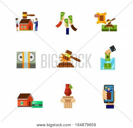 Auction market icon set. Auctioneer Raising money Lot Internet auction Interior Sold sound Building auction Bidder hand. Contains bonus icons of Mortgage Dollar pack Donation box