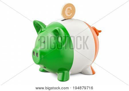 Investments in Ireland. Piggy bank with flag and golden euro coin business concept. 3D rendering