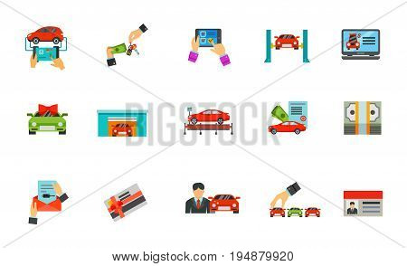 Auto business icon set. Diagnostic Buying Online shopping Car lifting Selling website Special offer Garage Exhibition pavilion Loan Dollar pack Car document Gift card Salesman Choosing Driver license
