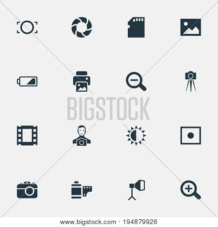 Vector Illustration Set Of Simple Photographic Icons. Elements Registration, Rustication, Rim And Other Synonyms Image, Enrollment And Charge.