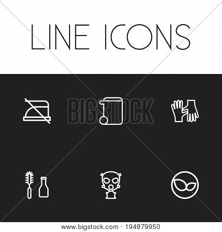 Set Of 6 Editable Cleanup Icons. Includes Symbols Such As Respirator, Tools, Do Not Iron And More. Can Be Used For Web, Mobile, UI And Infographic Design.