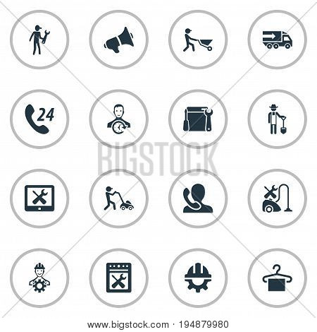 Vector Illustration Set Of Simple Support Icons. Elements Farmer With Shovel, Appliances Repair, Horticulture And Other Synonyms Gardening, Suspender And Safety.