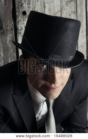 Portrait of a  young man in top hat