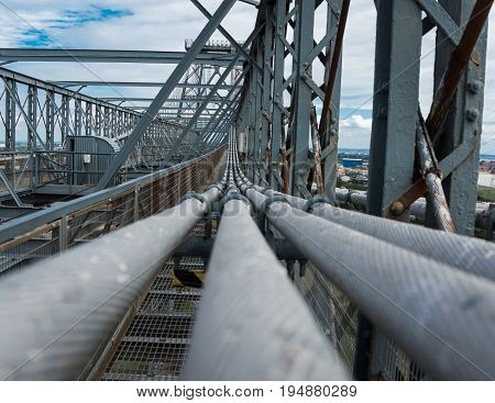Bridge steel tension cables on top high view