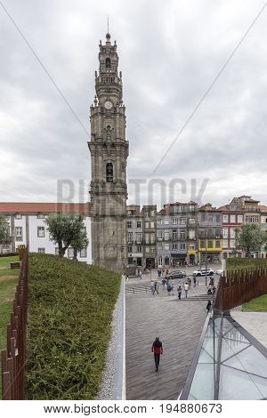 Bell tower of the Clerigos Church (Torre dos Clerigos) is one famous panoramic viewpoint destination of Porto city Portugal.