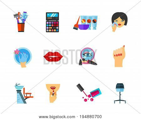 Beauty icon set. Hairdresser combs Palette Hair dye Powdering Bath for hand Lips Makeup base Female hand Chair for washing hair Applying lipstick on lips Pink nail lacquer Hood hairdryer