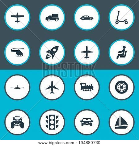 Vector Illustration Set Of Simple Transportation Icons. Elements Kids Activity, Airliner, Cab And Other Synonyms Helicopter, Automobile And Traffic.