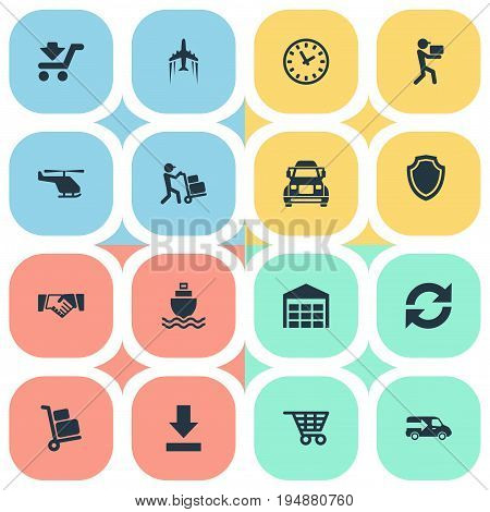 Vector Illustration Set Of Simple Systematization Icons. Elements Lorry, Air Transport, Sea Transport And Other Synonyms Delivery, Van And Arrow.