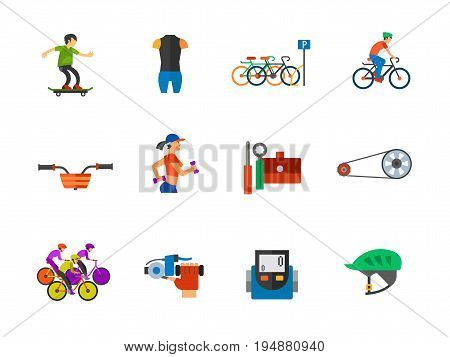 Bicycle icon set. Cycling suit Bicycle parking Cycling Bike basket Tools Bicycle chain Cycling race Bike bell Speedometer Bike helmet. Contains bonus icon of Jogging and Skater boy