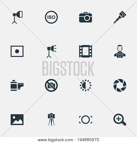 Vector Illustration Set Of Simple Photograph Icons. Elements Brilliance, Photo Tape, Photograph And Other Synonyms Magnifying, Lustre And Removable.