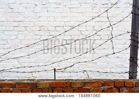 barbed wire on a brick wall background
