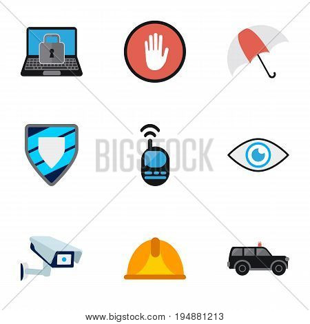 Set Of 9 Editable Procuring Icons. Includes Symbols Such As Security Camera, Stop, Look And More. Can Be Used For Web, Mobile, UI And Infographic Design.