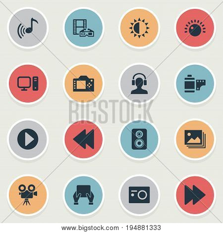 Vector Illustration Set Of Simple  Icons. Elements Photo Apparatus, Shine, Rewind And Other Synonyms Roll, Headphone And PC.