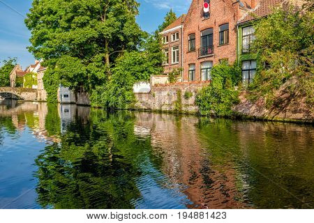 Bruges (Brugge) cityscape with water canal, Flanders, Belgium