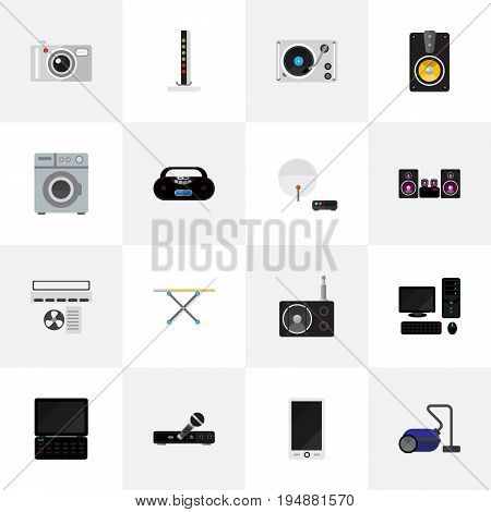 Set Of 16 Editable Tech Icons. Includes Symbols Such As Ventilation, Laundromat, Notebook And More. Can Be Used For Web, Mobile, UI And Infographic Design.