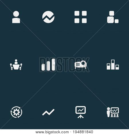 Vector Illustration Set Of Simple Presentation Icons. Elements Construction, Projecting Device, Analytics And Other Synonyms Report, Training And Analytics.