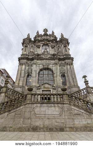 Facade of the Clerigos Church (Torre dos Clerigos) is one famous panoramic viewpoint destination of Porto city Portugal.