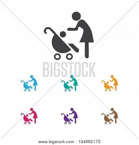 Vector Illustration Of Child Symbol On Perambulator Icon. Premium Quality Isolated Woman With Baby Element In Trendy Flat Style.