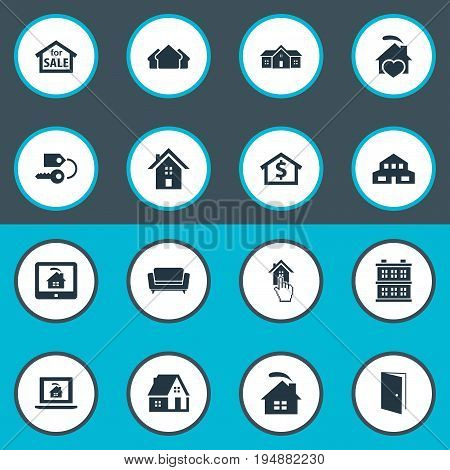 Vector Illustration Set Of Simple Real Icons. Elements Choose, Residential, Domicile And Other Synonyms Comfort, Architecture And Ticket.