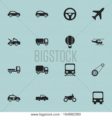 Set Of 16 Editable Transportation Icons. Includes Symbols Such As Auto, Autobus, Aircraft And More. Can Be Used For Web, Mobile, UI And Infographic Design.