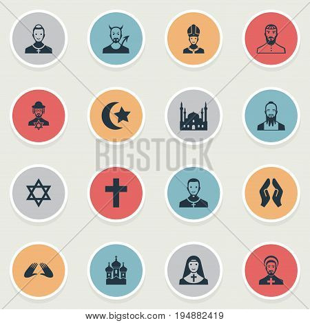 Vector Illustration Set Of Simple Religion Icons. Elements Orison, Crucifix, Chapel And Other Synonyms Reverend, Devil And Chapel.