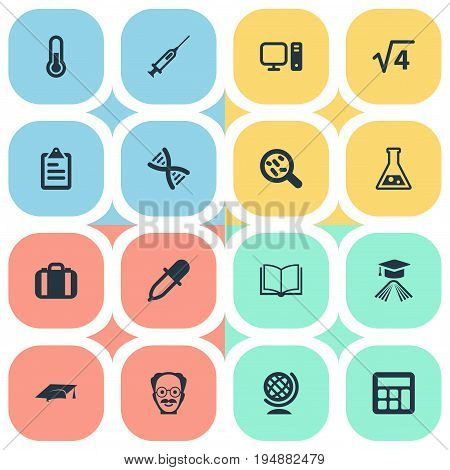 Vector Illustration Set Of Simple Science Icons. Elements Medicine Dropper, Syringe, Briefcase And Other Synonyms Bacterium, Book And Academy.