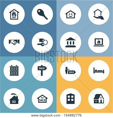 Vector Illustration Set Of Simple Estate Icons. Elements Property, Smiley Casa, Agent And Other Synonyms Hostel, Lock And Architecture.