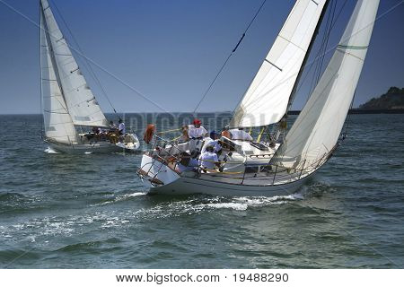 Competition in sailing sports. It is necessary to choose the wind which will result in a victory.