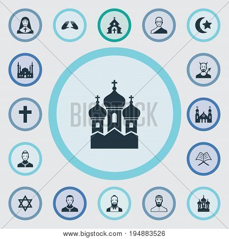 Vector Illustration Set Of Simple Religion Icons. Elements Temple, Mohammedanism, Crucifix And Other Synonyms Demon, Cross And Devil.